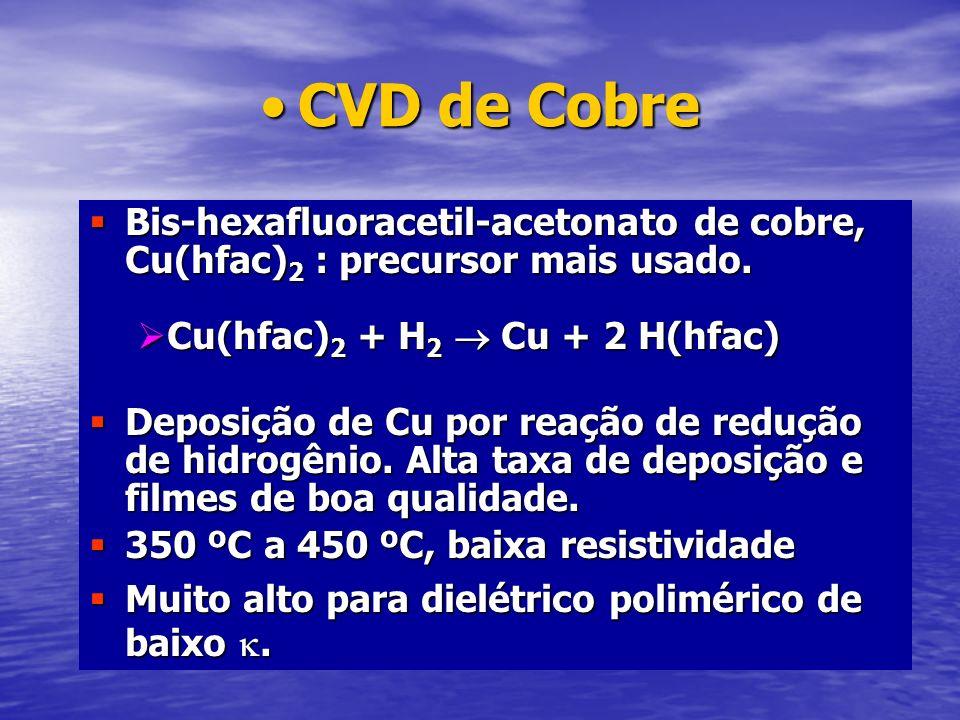 CVD de CobreCVD de Cobre Bis-hexafluoracetil-acetonato de cobre, Cu(hfac) 2 : precursor mais usado. Bis-hexafluoracetil-acetonato de cobre, Cu(hfac) 2