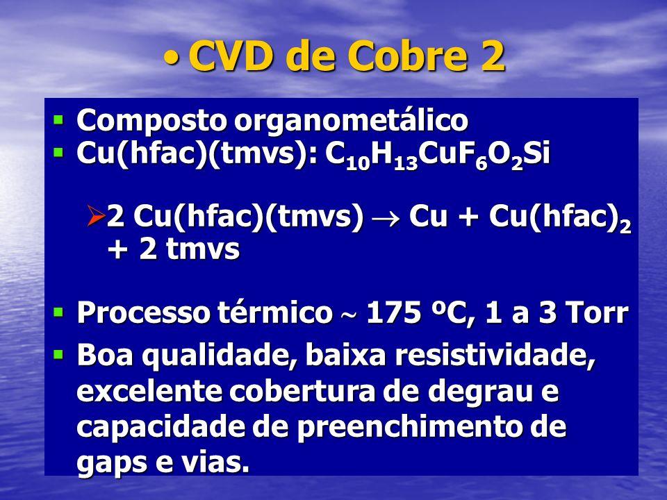 CVD de Cobre 2CVD de Cobre 2 Composto organometálico Composto organometálico Cu(hfac)(tmvs): C 10 H 13 CuF 6 O 2 Si Cu(hfac)(tmvs): C 10 H 13 CuF 6 O