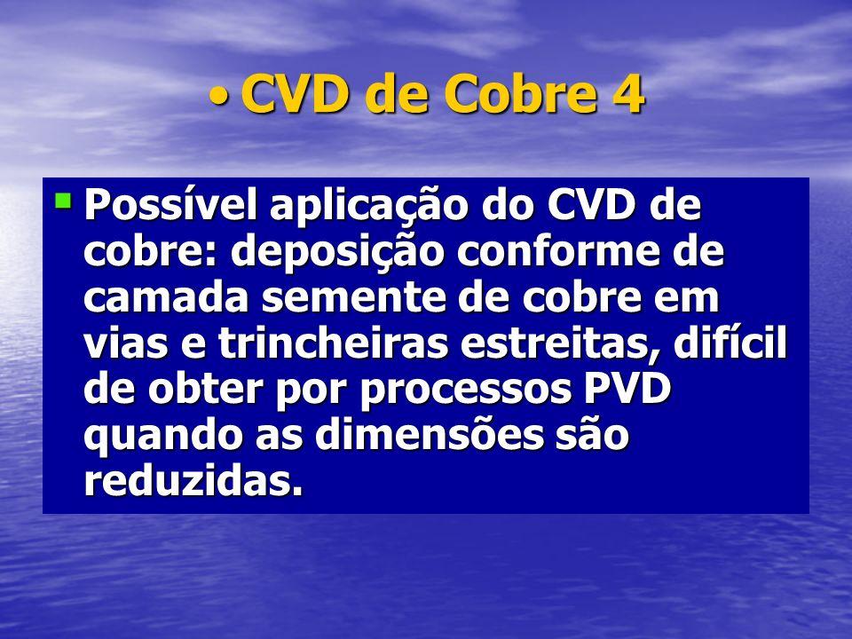 CVD de Cobre 4CVD de Cobre 4 Possível aplicação do CVD de cobre: deposição conforme de camada semente de cobre em vias e trincheiras estreitas, difíci