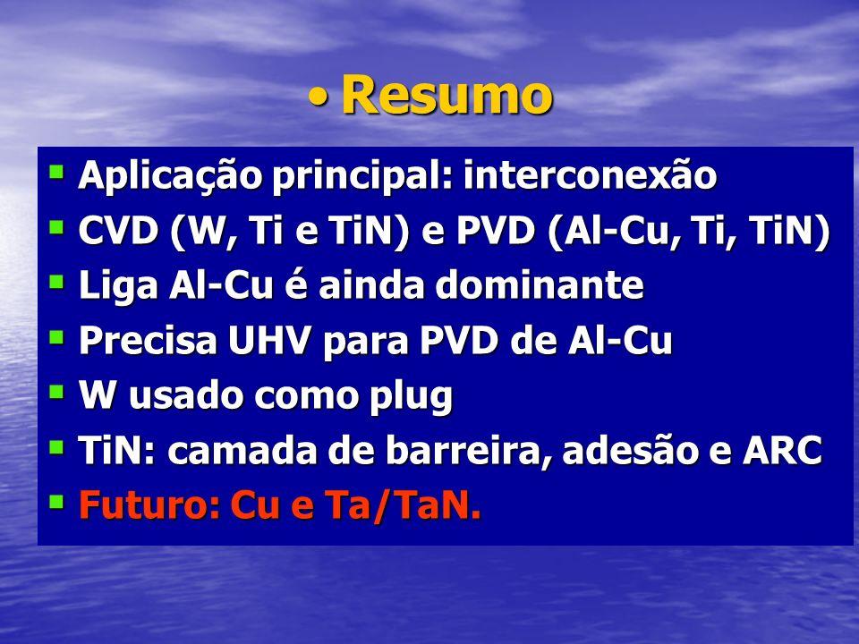 ResumoResumo Aplicação principal: interconexão Aplicação principal: interconexão CVD (W, Ti e TiN) e PVD (Al-Cu, Ti, TiN) CVD (W, Ti e TiN) e PVD (Al-