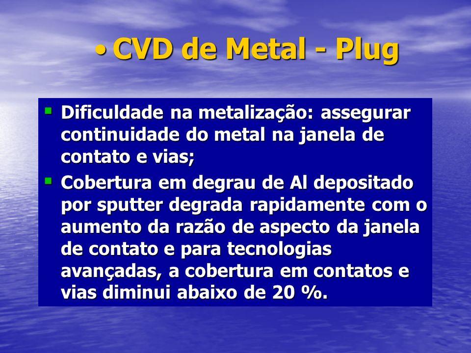 Dificuldade na metalização: assegurar continuidade do metal na janela de contato e vias; Dificuldade na metalização: assegurar continuidade do metal n