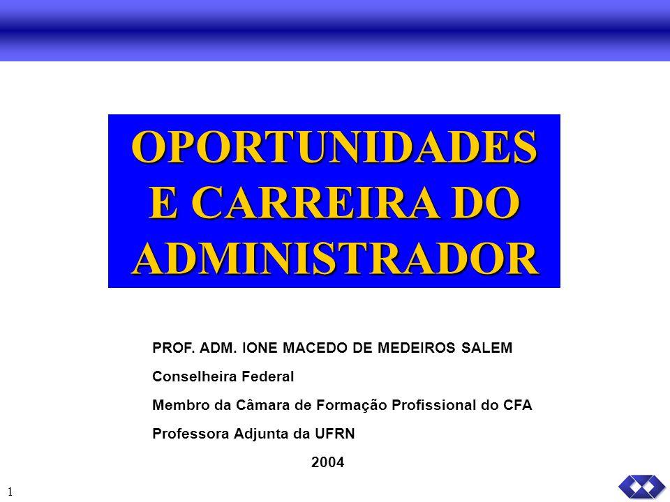 1 OPORTUNIDADES E CARREIRA DO ADMINISTRADOR PROF.ADM.