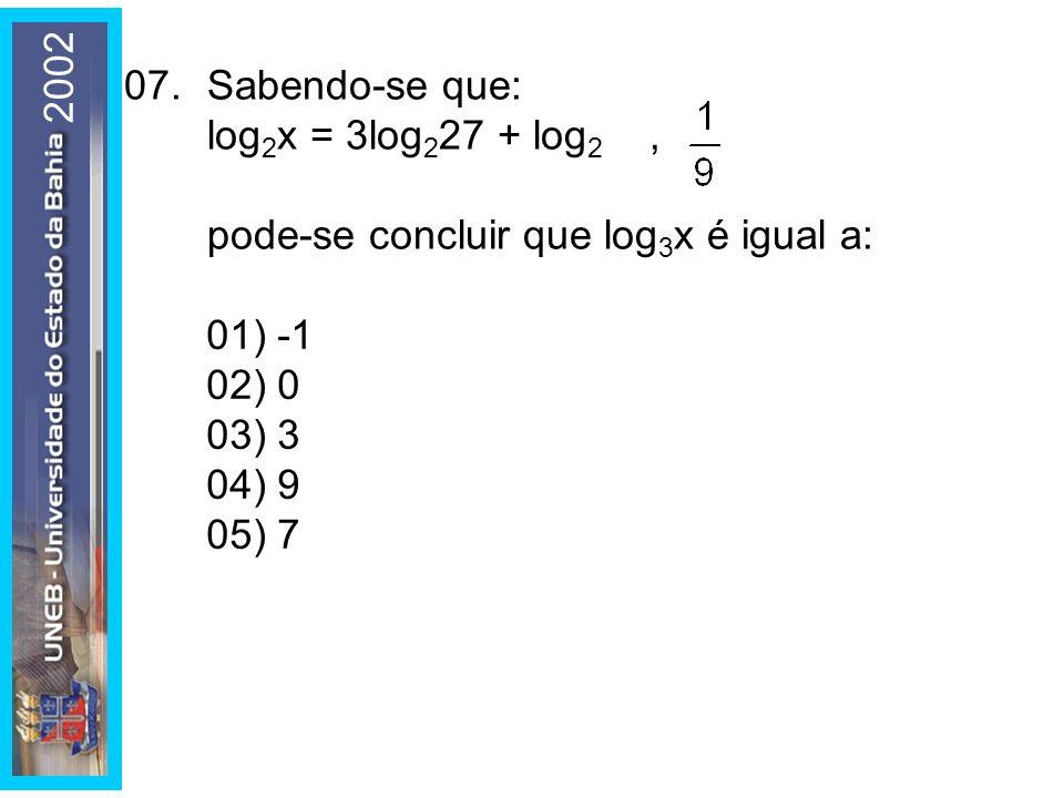 08.Sendo as matrizes e B = (b ij ) 3x2, b ij = i – j, o determinante da matriz 2AB é igual a: 01) -2 02) -1 03) 3 04) 6 05) 12 2002