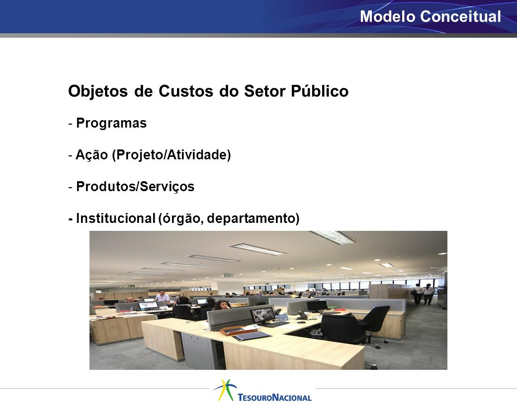 Modelo Conceitual Objetos de Custos do Setor Público - Programas - Ação (Projeto/Atividade) - Produtos/Serviços - Institucional (órgão, departamento)