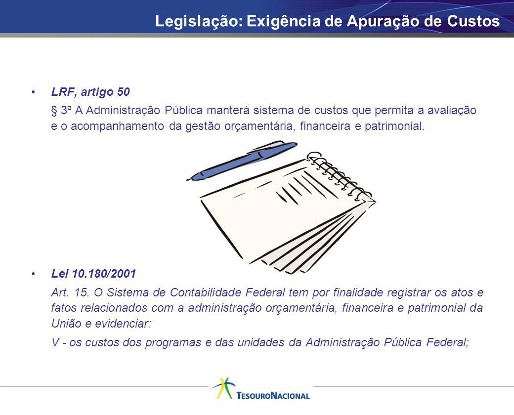 LRF, artigo 50 § 3º A Administração Pública manterá sistema de custos que permita a avaliação e o acompanhamento da gestão orçamentária, financeira e
