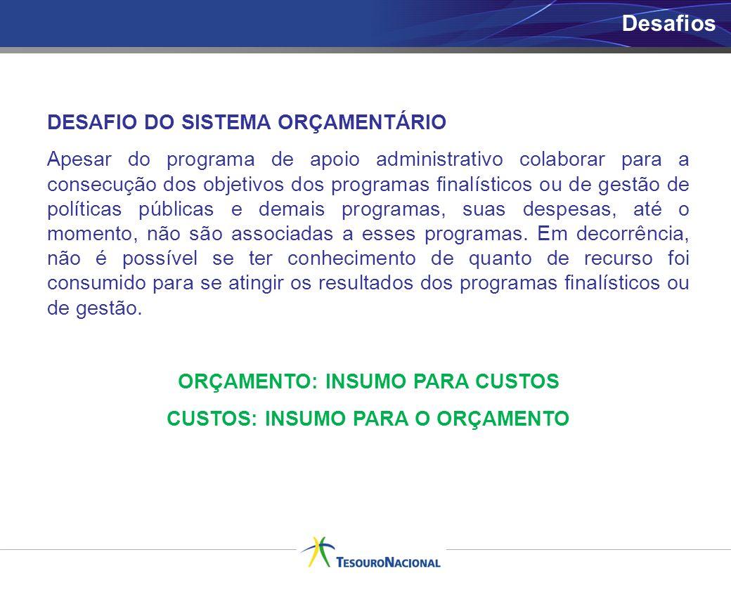 Desafios DESAFIO DO SISTEMA ORÇAMENTÁRIO Apesar do programa de apoio administrativo colaborar para a consecução dos objetivos dos programas finalístic