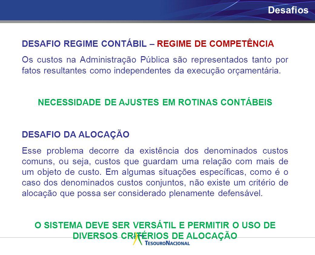 DESAFIO REGIME CONTÁBIL – REGIME DE COMPETÊNCIA Os custos na Administração Pública são representados tanto por fatos resultantes como independentes da