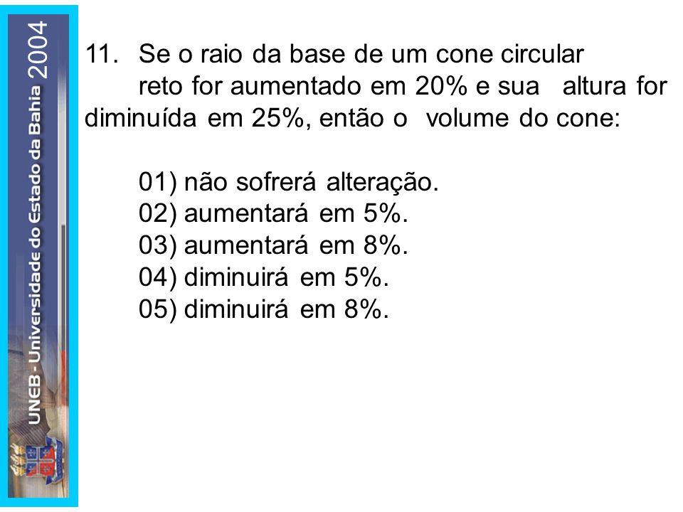 2004 11. Se o raio da base de um cone circular reto for aumentado em 20% e sua altura for diminuída em 25%, então o volume do cone: 01) não sofrerá al