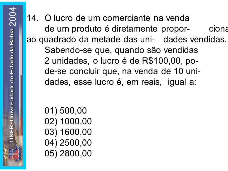2004 14.O lucro de um comerciante na venda de um produto é diretamente propor-cional ao quadrado da metade das uni-dades vendidas. Sabendo-se que, qua