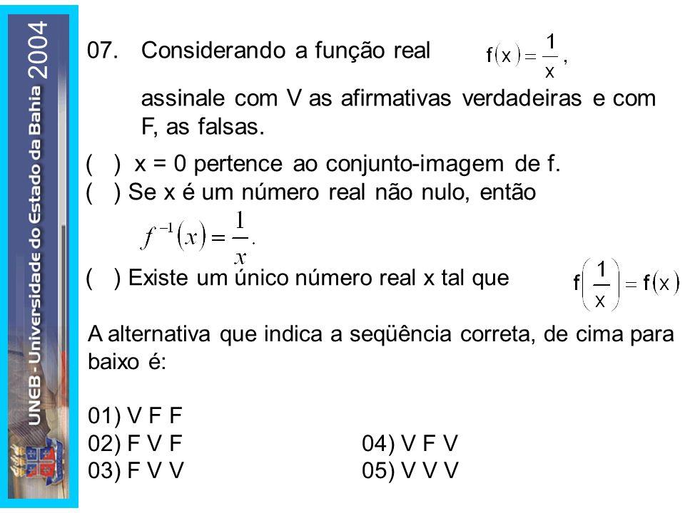 2004 A alternativa que indica a seqüência correta, de cima para baixo é: 01) V F F 02) F V F04) V F V 03) F V V05) V V V 07.Considerando a função real