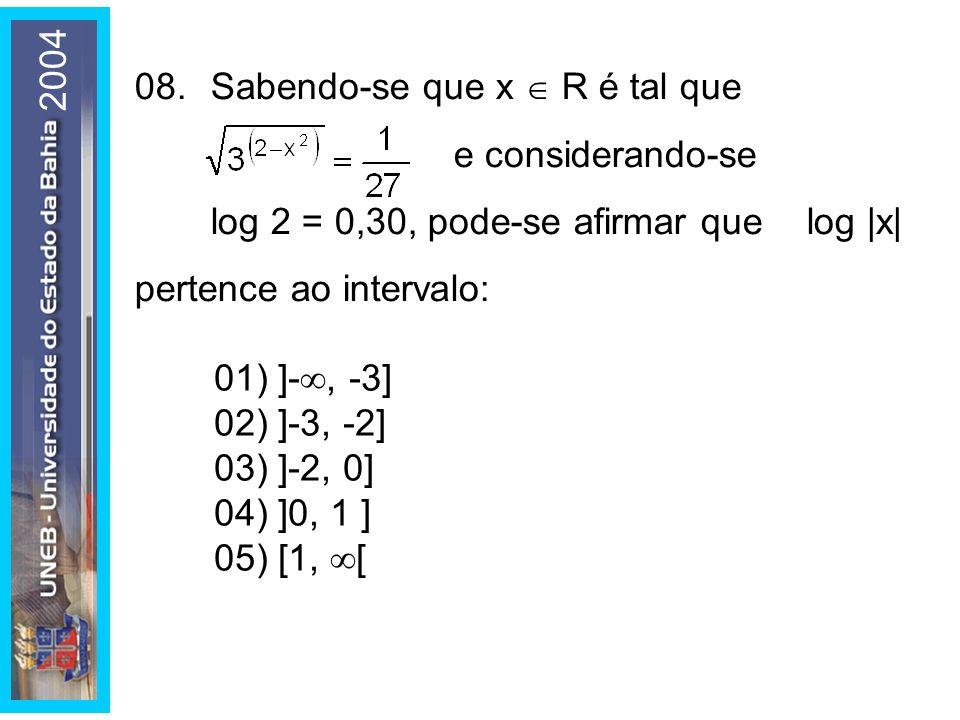 2004 01) ]-, -3] 02) ]-3, -2] 03) ]-2, 0] 04) ]0, 1 ] 05) [1, [ 08.Sabendo-se que x R é tal que e considerando-se log 2 = 0,30, pode-se afirmar que lo