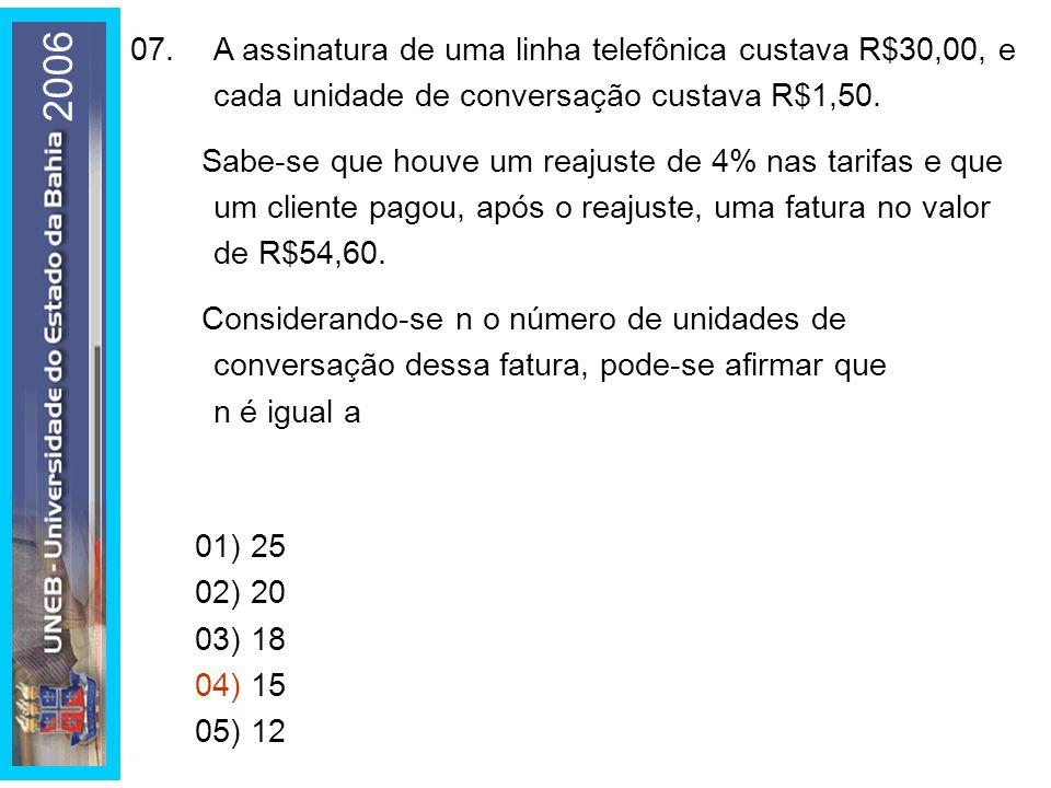 01) 25 02) 20 03) 18 04) 15 05) 12 07.A assinatura de uma linha telefônica custava R$30,00, e cada unidade de conversação custava R$1,50.