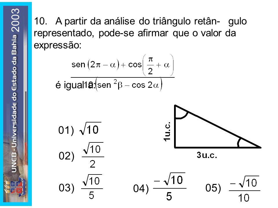 2003 10.A partir da análise do triângulo retân-gulo representado, pode-se afirmar que o valor da expressão: é igual a: 01) 02) 03) 04) 05)