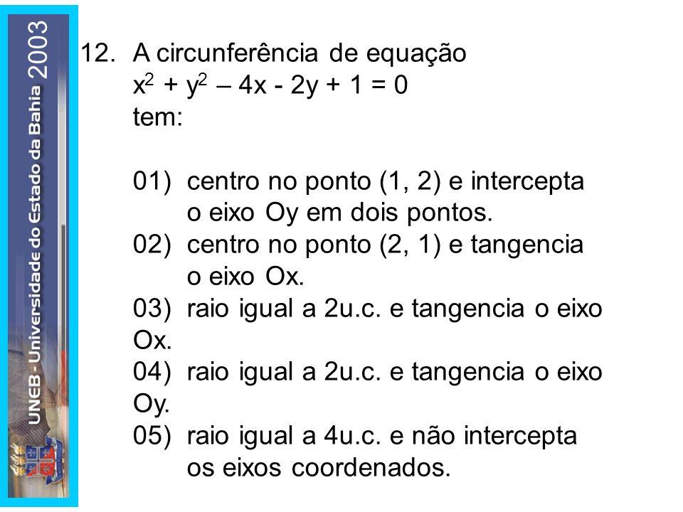 2003 12.A circunferência de equação x 2 + y 2 – 4x - 2y + 1 = 0 tem: 01)centro no ponto (1, 2) e intercepta o eixo Oy em dois pontos. 02)centro no pon