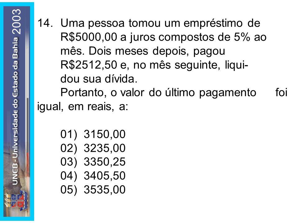 2003 14.Uma pessoa tomou um empréstimo de R$5000,00 a juros compostos de 5% ao mês. Dois meses depois, pagou R$2512,50 e, no mês seguinte, liqui- dou