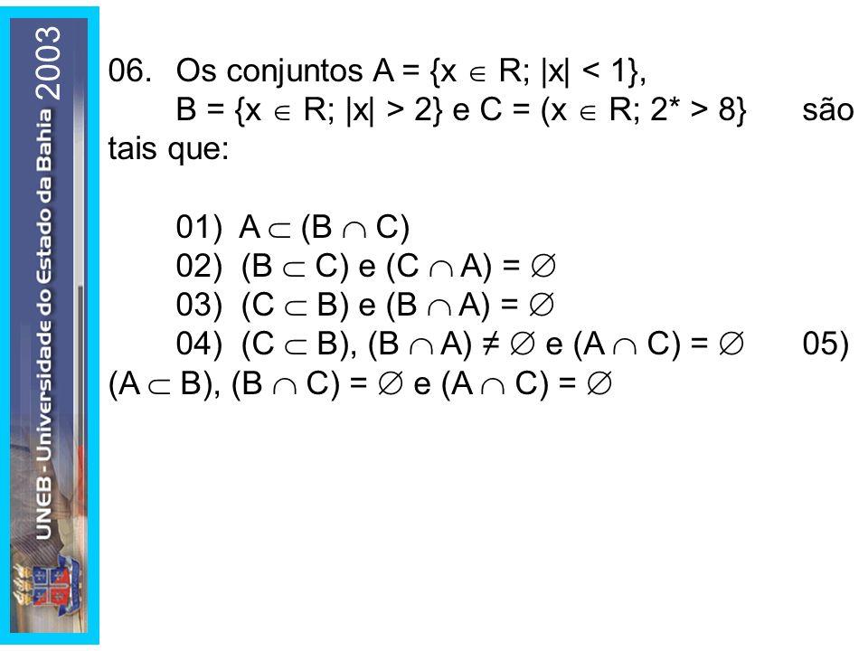 2003 06. Os conjuntos A = {x R; |x| 2} e C = (x R; 2* > 8} são tais que: 01) A (B C) 02) (B C) e (C A) = 03) (C B) e (B A) = 04) (C B), (B A) e (A C)