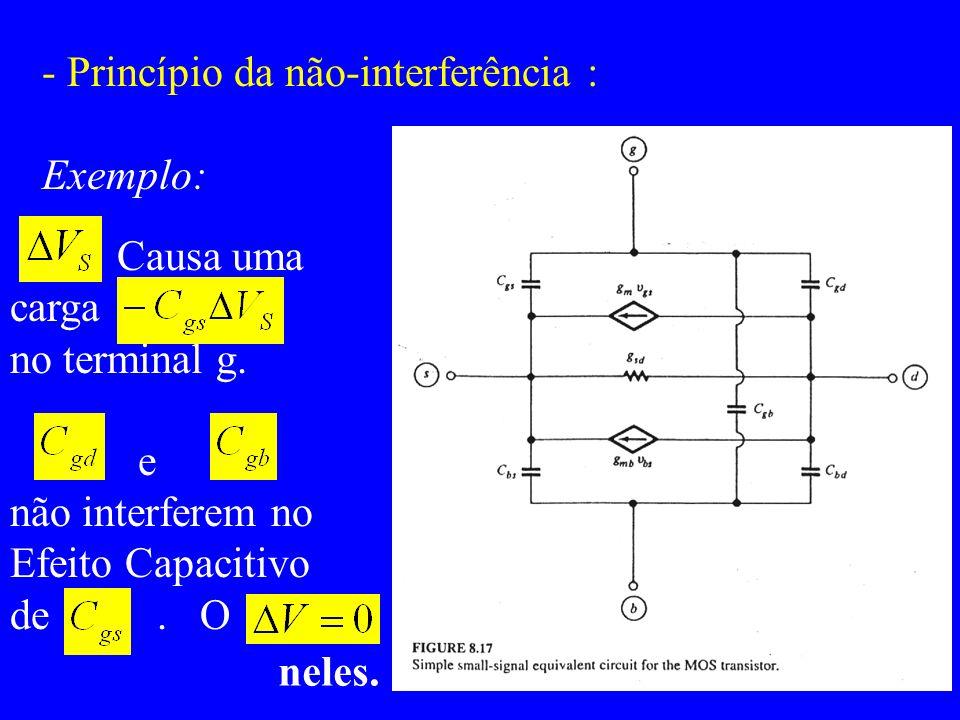 - Princípio da não-interferência : Exemplo: Causa uma carga no terminal g. e não interferem no Efeito Capacitivo de. O neles.