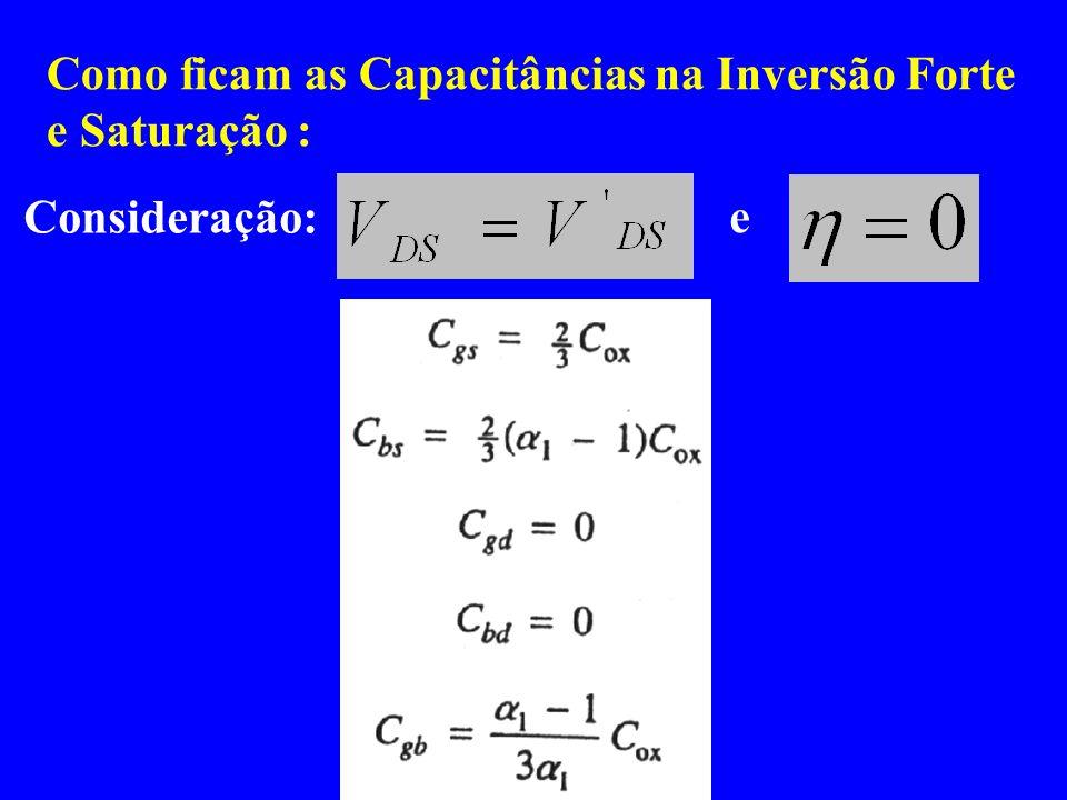 Como ficam as Capacitâncias na Inversão Forte e Saturação : e Consideração: