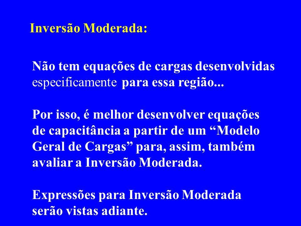 Inversão Moderada: Não tem equações de cargas desenvolvidas especificamente para essa região... Por isso, é melhor desenvolver equações de capacitânci