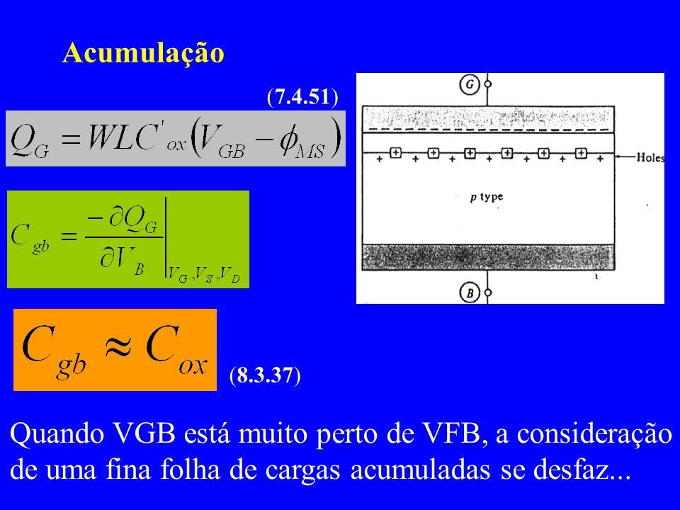 Acumulação (7.4.51) (8.3.37) Quando VGB está muito perto de VFB, a consideração de uma fina folha de cargas acumuladas se desfaz...