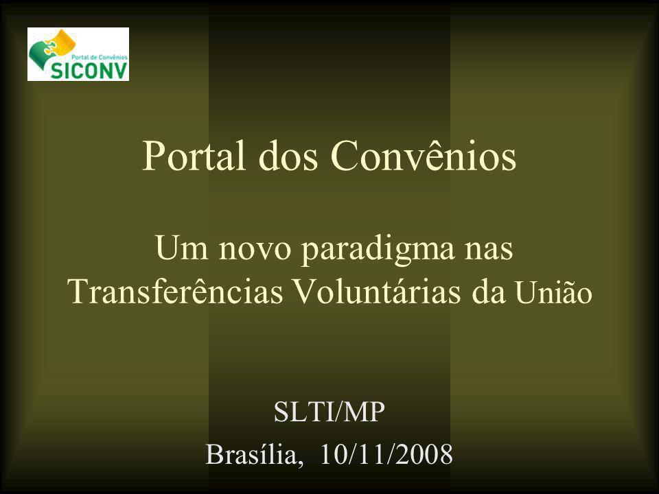Portal dos Convênios Um novo paradigma nas Transferências Voluntárias da União SLTI/MP Brasília, 10/11/2008