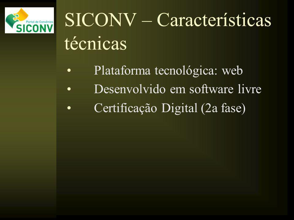 SICONV – Características técnicas Plataforma tecnológica: web Desenvolvido em software livre Certificação Digital (2a fase)