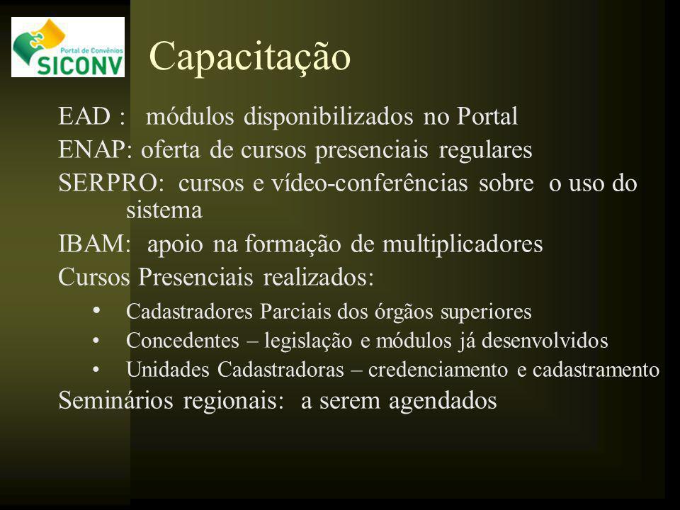 Capacitação EAD : módulos disponibilizados no Portal ENAP: oferta de cursos presenciais regulares SERPRO: cursos e vídeo-conferências sobre o uso do s