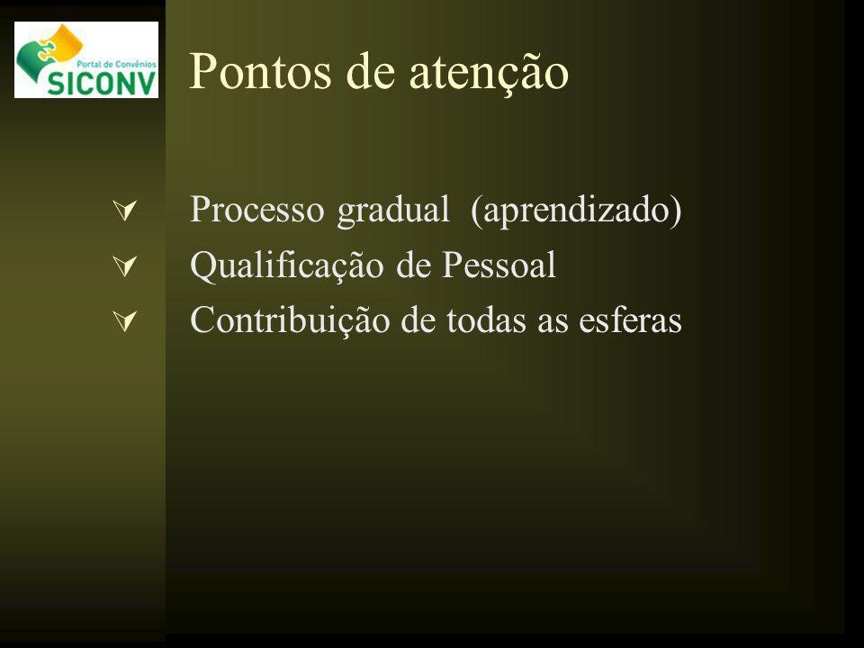 Pontos de atenção Processo gradual (aprendizado) Qualificação de Pessoal Contribuição de todas as esferas