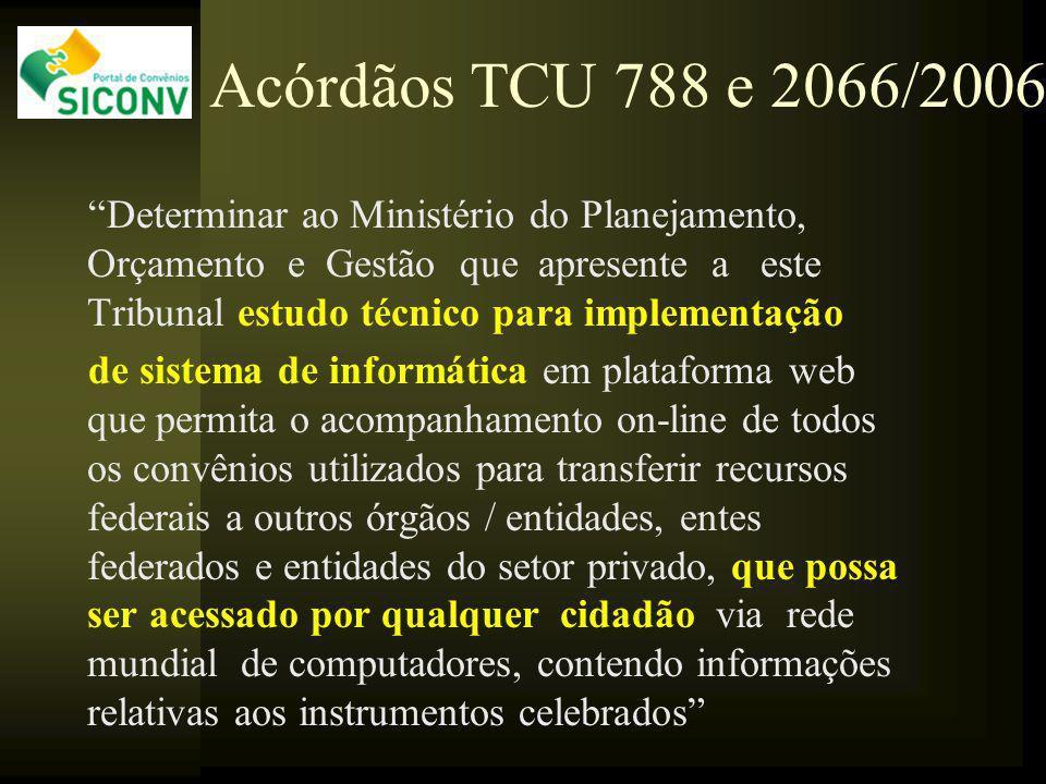 Acórdãos TCU 788 e 2066/2006 Determinar ao Ministério do Planejamento, Orçamento e Gestão que apresente a este Tribunal estudo técnico para implementa