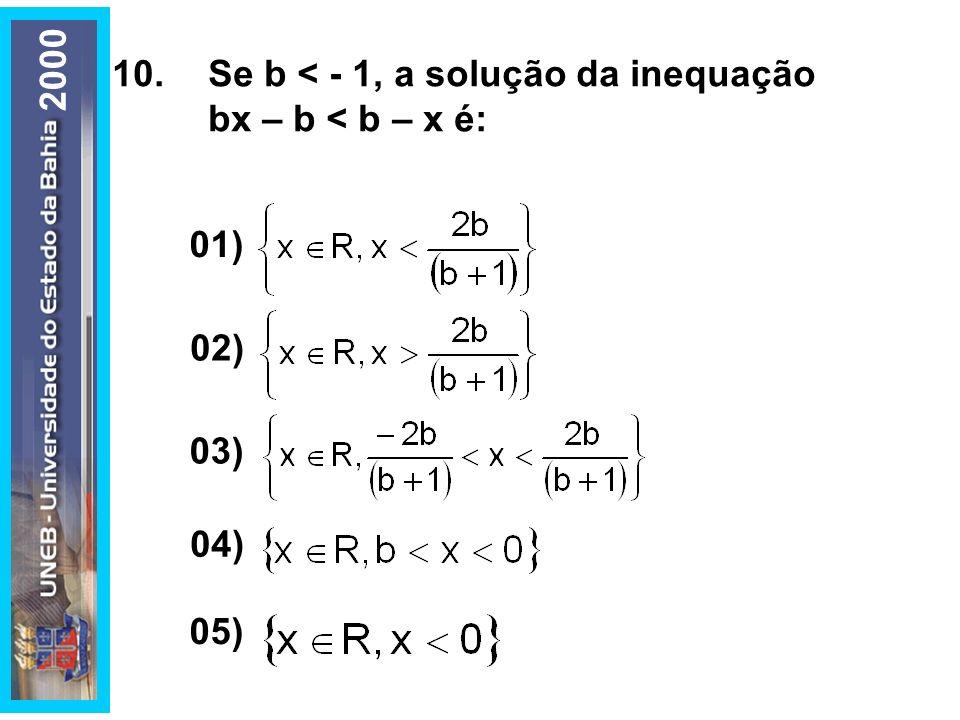 10.Se b < - 1, a solução da inequação bx – b < b – x é: 01) 02) 03) 05) 04) 2000