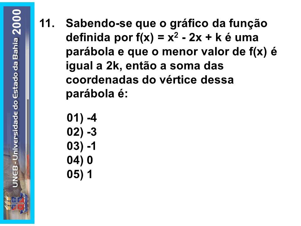 11.Sabendo-se que o gráfico da função definida por f(x) = x 2 - 2x + k é uma parábola e que o menor valor de f(x) é igual a 2k, então a soma das coord