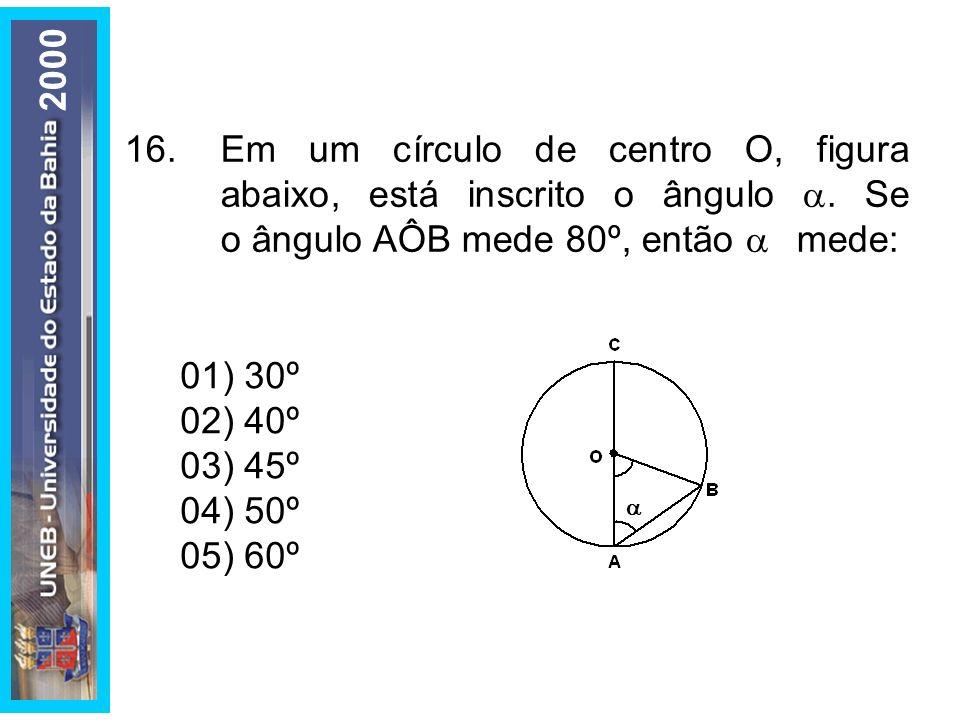 16.Em um círculo de centro O, figura abaixo, está inscrito o ângulo. Se o ângulo AÔB mede 80º, então mede: 01) 30º 02) 40º 03) 45º 04) 50º 05) 60º 200
