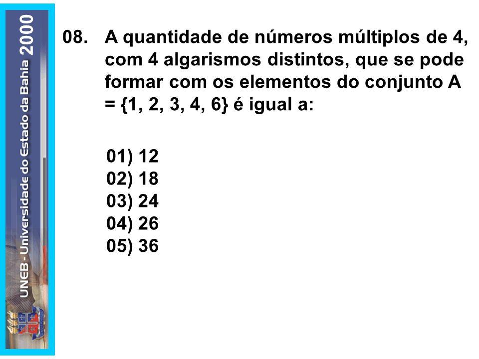 08.A quantidade de números múltiplos de 4, com 4 algarismos distintos, que se pode formar com os elementos do conjunto A = {1, 2, 3, 4, 6} é igual a: