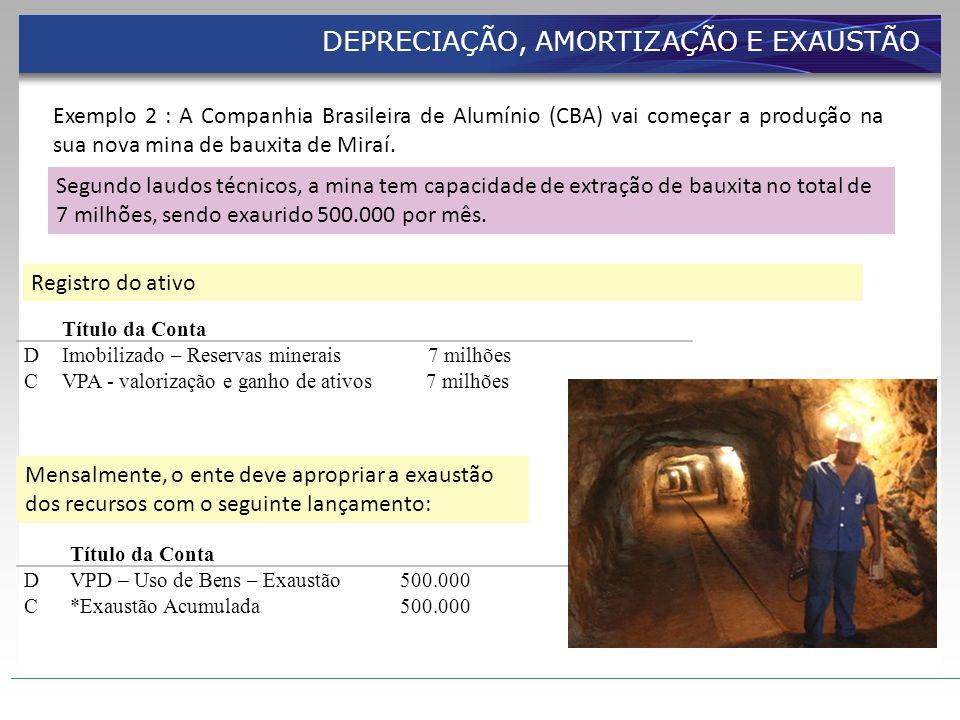 Registro do ativo Título da Conta DImobilizado – Reservas minerais 7 milhões CVPA - valorização e ganho de ativos 7 milhões Mensalmente, o ente deve a