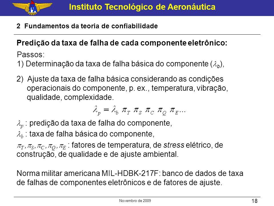 Instituto Tecnológico de Aeronáutica Novembro de 2009 18 2 Fundamentos da teoria de confiabilidade Predição da taxa de falha de cada componente eletrô