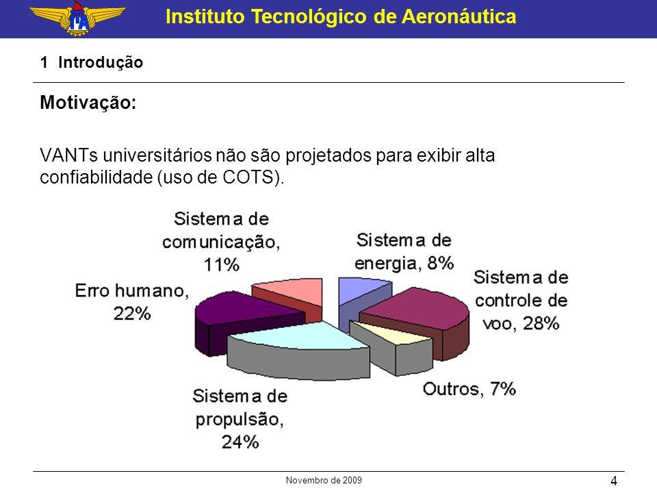 Instituto Tecnológico de Aeronáutica Novembro de 2009 4 1 Introdução Motivação: VANTs universitários não são projetados para exibir alta confiabilidad