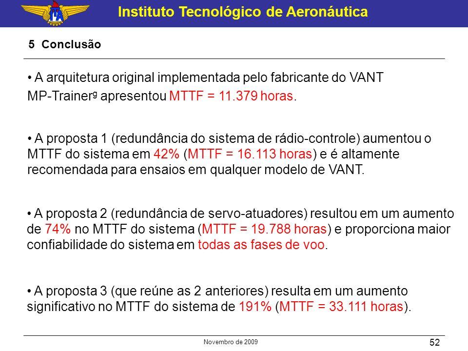 Instituto Tecnológico de Aeronáutica Novembro de 2009 52 5 Conclusão A proposta 1 (redundância do sistema de rádio-controle) aumentou o MTTF do sistem