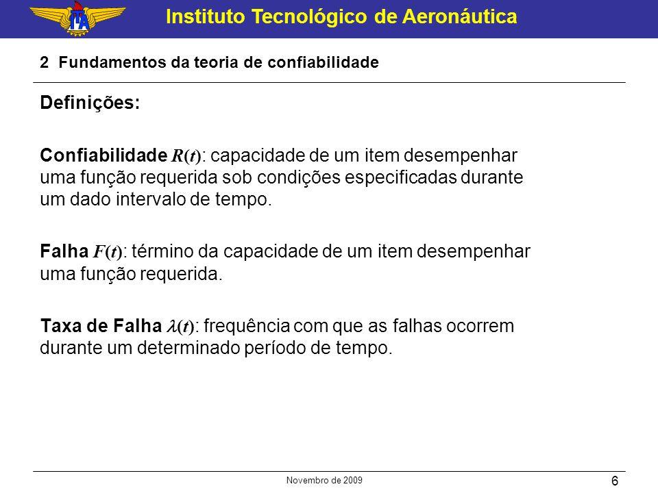 Instituto Tecnológico de Aeronáutica Novembro de 2009 6 2 Fundamentos da teoria de confiabilidade Definições: Confiabilidade R(t) : capacidade de um i