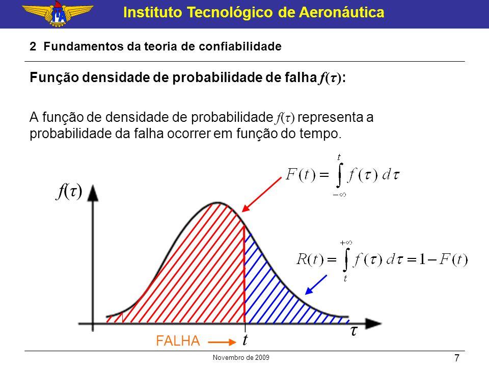 Instituto Tecnológico de Aeronáutica Novembro de 2009 7 2 Fundamentos da teoria de confiabilidade Função densidade de probabilidade de falha f(τ) : A