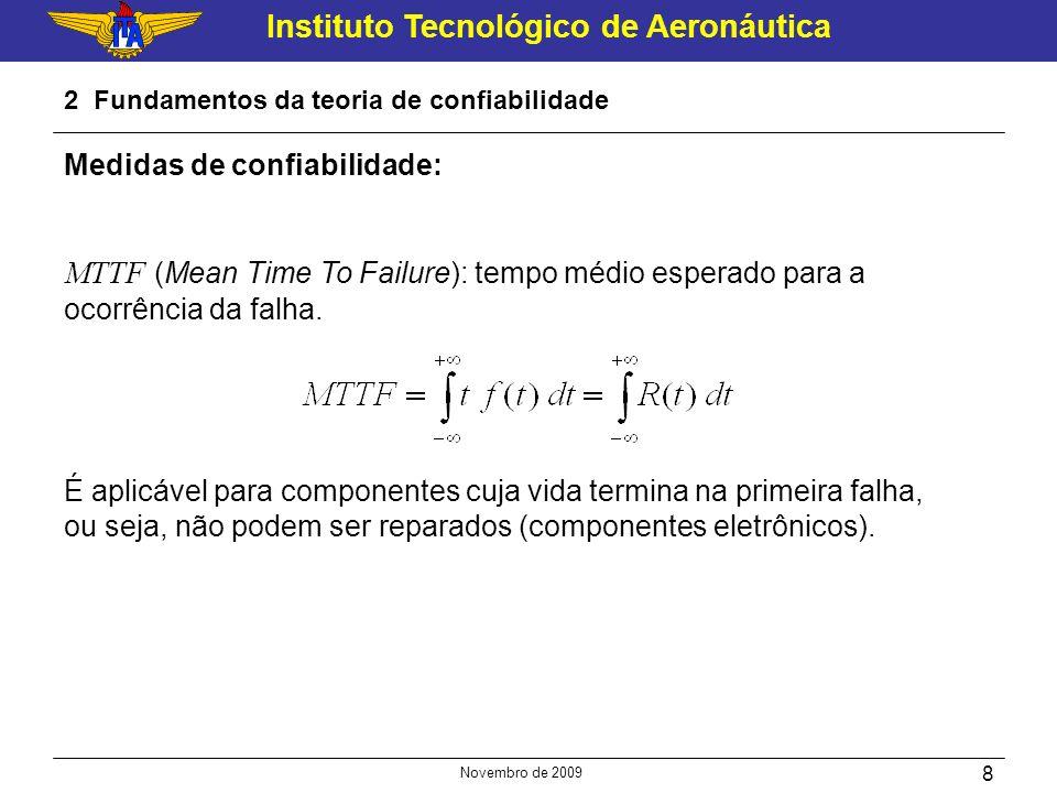 Instituto Tecnológico de Aeronáutica Novembro de 2009 8 2 Fundamentos da teoria de confiabilidade Medidas de confiabilidade: MTTF (Mean Time To Failur