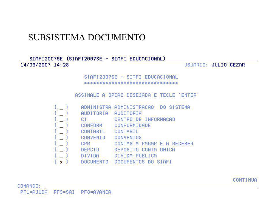 MOTIVO DE ALTERAÇÃO DO DOCUMENTO 2007FL000025