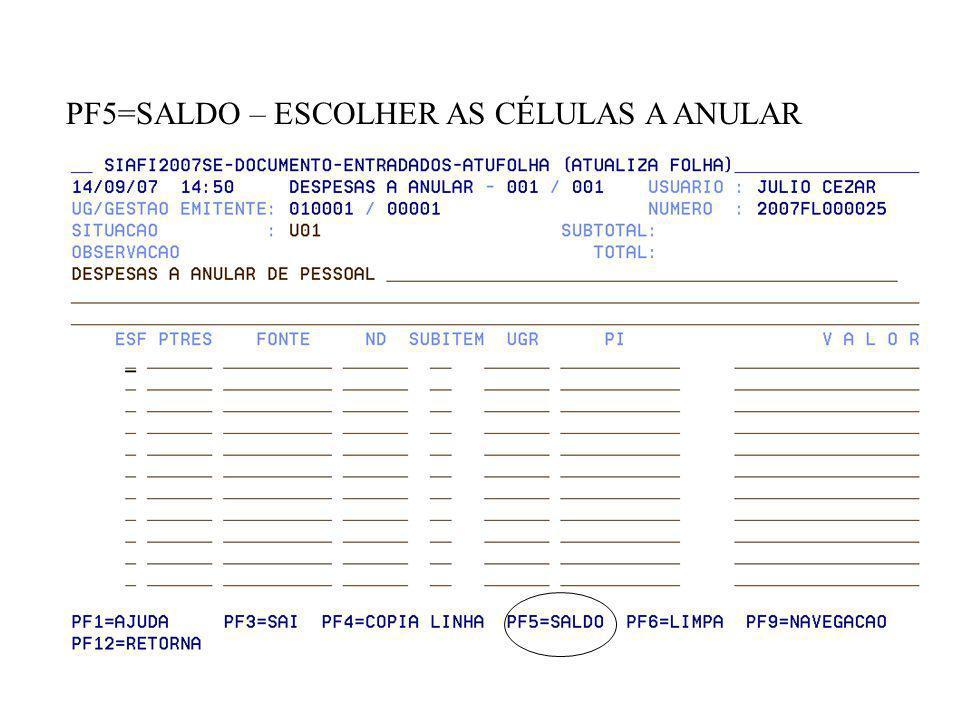 PF5=SALDO – ESCOLHER AS CÉLULAS A ANULAR