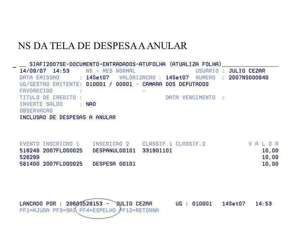 NS DA TELA DE DESPESA A ANULAR