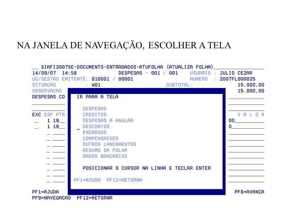 NA JANELA DE NAVEGAÇÃO, ESCOLHER A TELA