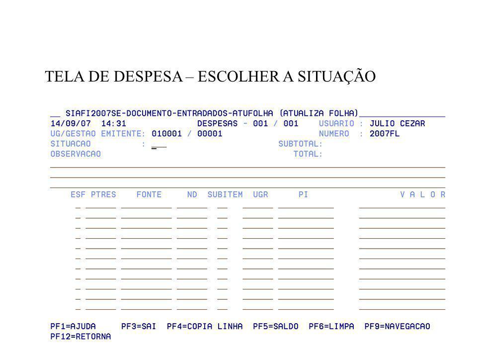 TELA DE DESPESA – ESCOLHER A SITUAÇÃO