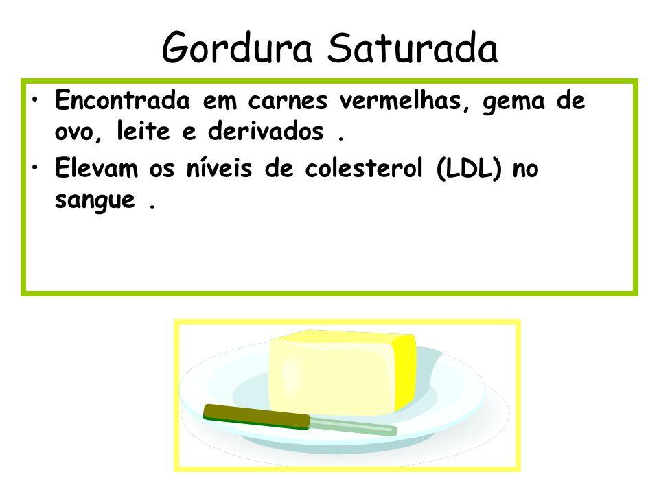 Gordura Saturada Encontrada em carnes vermelhas, gema de ovo, leite e derivados. Elevam os níveis de colesterol (LDL) no sangue.