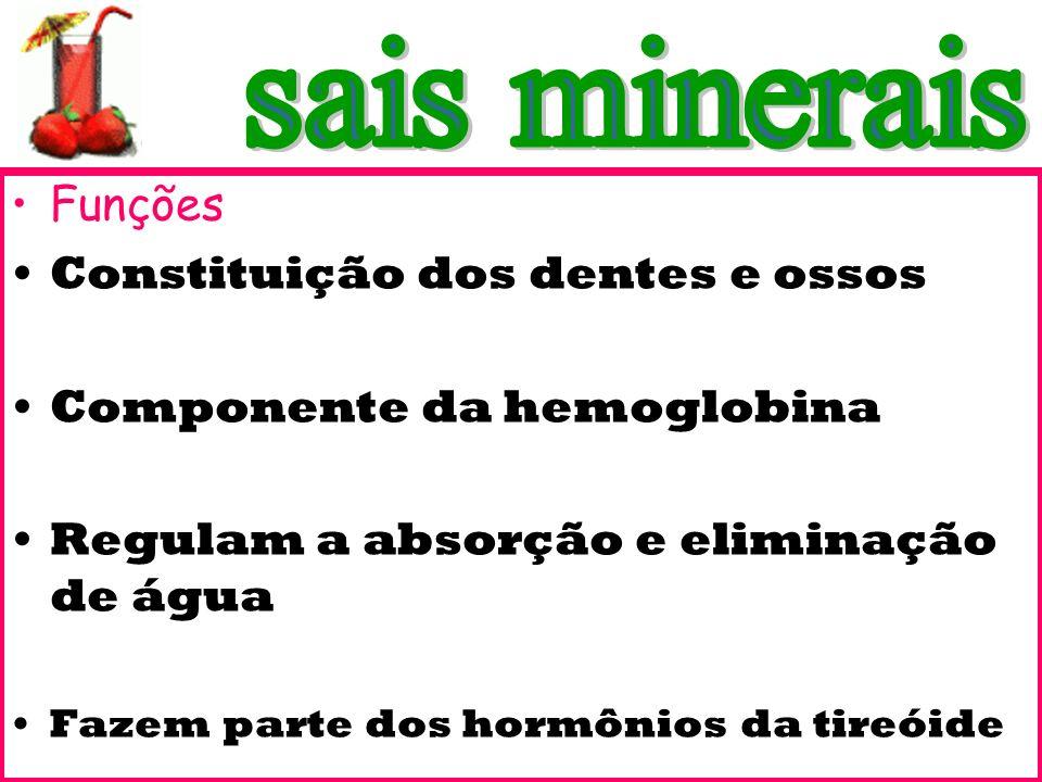 Funções Constituição dos dentes e ossos Componente da hemoglobina Regulam a absorção e eliminação de água Fazem parte dos hormônios da tireóide