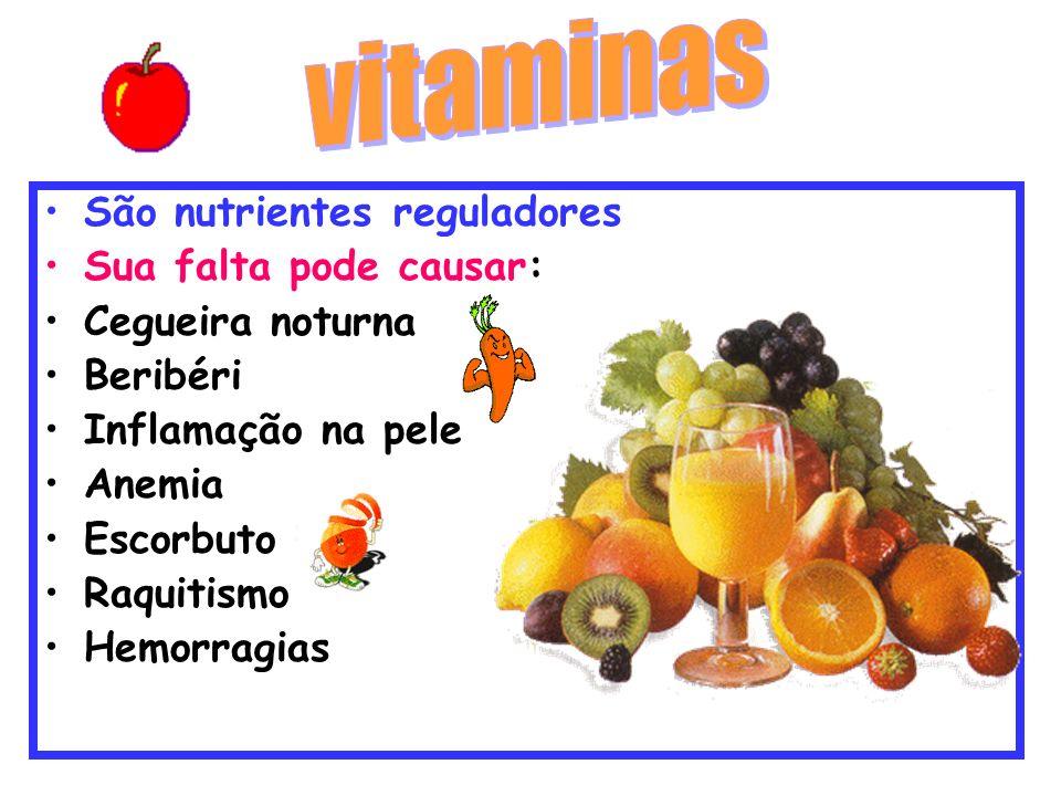 São nutrientes reguladores Sua falta pode causar: Cegueira noturna Beribéri Inflamação na pele Anemia Escorbuto Raquitismo Hemorragias