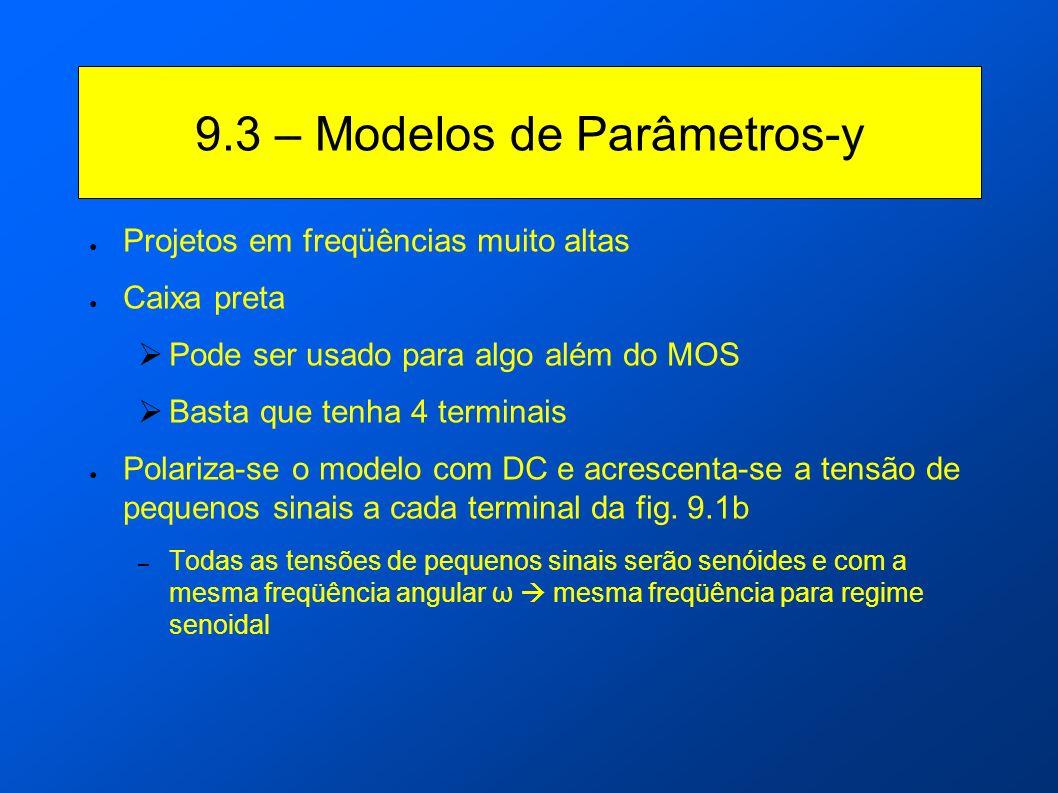 9.3 – Modelos de Parâmetros-y Projetos em freqüências muito altas Caixa preta Pode ser usado para algo além do MOS Basta que tenha 4 terminais Polariz