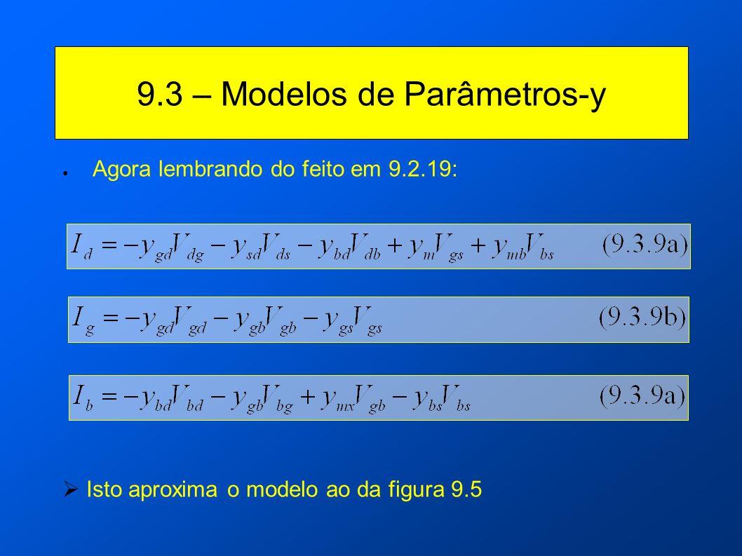 9.3 – Modelos de Parâmetros-y Agora lembrando do feito em 9.2.19: Isto aproxima o modelo ao da figura 9.5